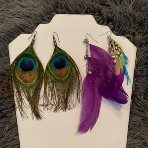 Express jewelry 2 Pairs Of Feathers Earrings